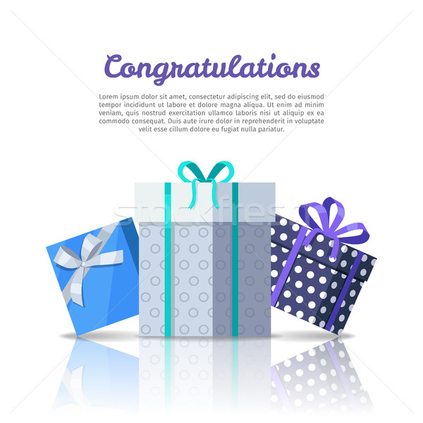Felicitaciones web banner estilo colorido cajas de regalo Foto stock © robuart