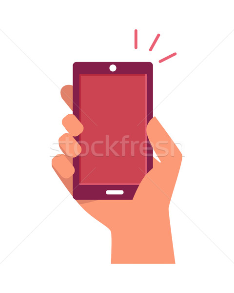 Mobiltelefon kéz felfelé izolált fehér telefon Stock fotó © robuart