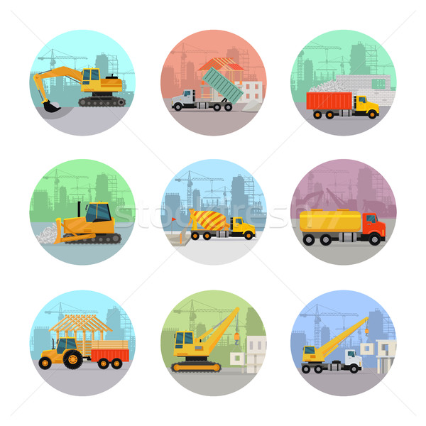 Stock photo: Set of Vector Icons with Construction Machines