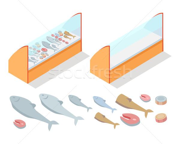 Hal termékek válogatás hűtőszekrény természetes étel Stock fotó © robuart