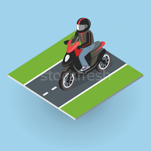 Stock photo: Motor Bike on the Road. Top View