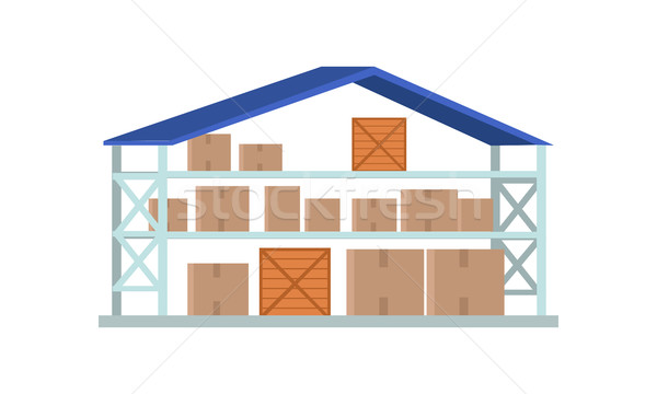 Worldwide Warehouse Deliver. Storehouse Building. Stock photo © robuart