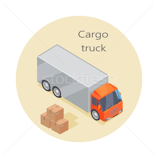 Kargo kamyon ikon kâğıt kutuları teslim Stok fotoğraf © robuart