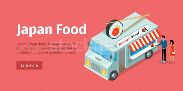 Kínai étel teherautó izometrikus vetítés étel stílus Stock fotó © robuart