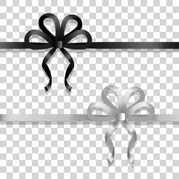 Fehér fekete keskeny szalagok fényes íjak Stock fotó © robuart