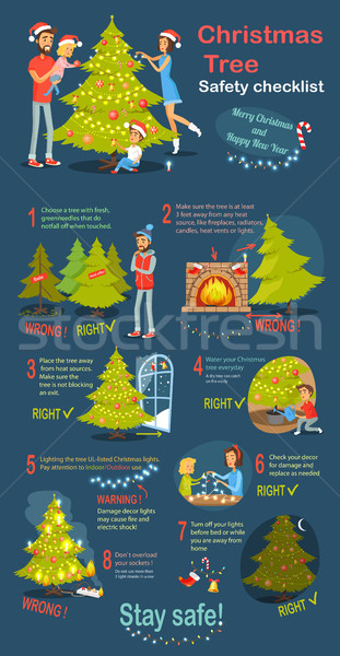 Christmas Tree Safety Cheklist. Instruction Vector Stock photo © robuart
