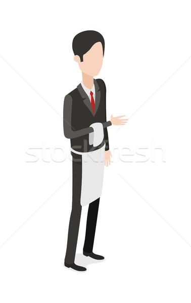 Restaurant. Waiter Holding Napkin on Bent Arm Stock photo © robuart