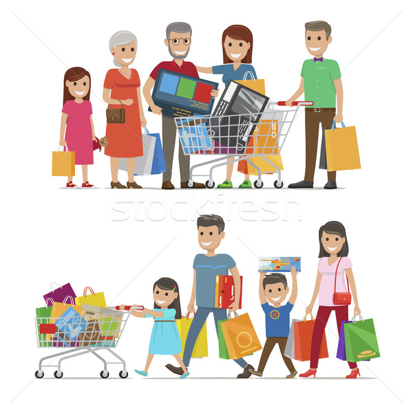 Families Shopping Concept Vector Illustration Stock photo © robuart