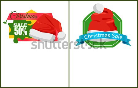 Santa Claus Hat with Green Crown Isolated on White Stock photo © robuart