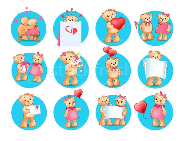 Stock photo: Loving Cartoon Bears Flat Vector Icons Set