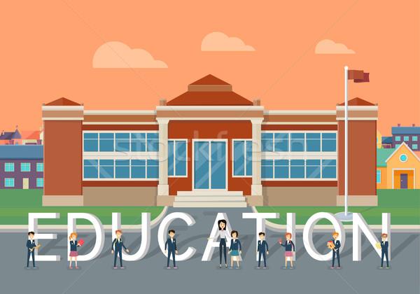 Escuela educación estilo vector clásico edificio Foto stock © robuart