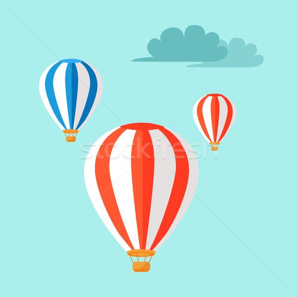 Vliegen blauwe hemel drie kleurrijk vliegen wolken Stockfoto © robuart