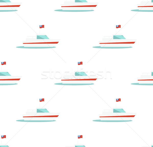 Végtelen minta jacht ikon izolált fehér tengeri Stock fotó © robuart