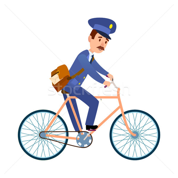 Postman on Bike Delivering Mail Cartoon Vector Stock photo © robuart