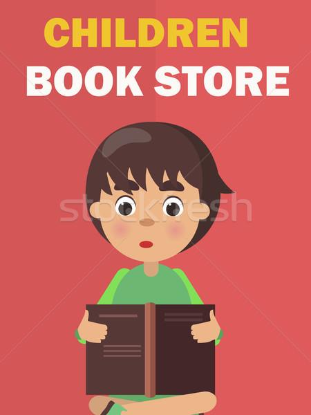 Gyerekek könyvesbolt szalag fiú vektor olvas Stock fotó © robuart