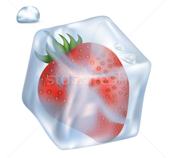 Strawberry in Ice Cube and Bubble Illustration Stock photo © robuart