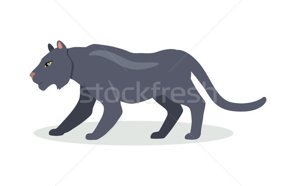 Black Jaguar Cartoon Icon in Flat Design Stock photo © robuart