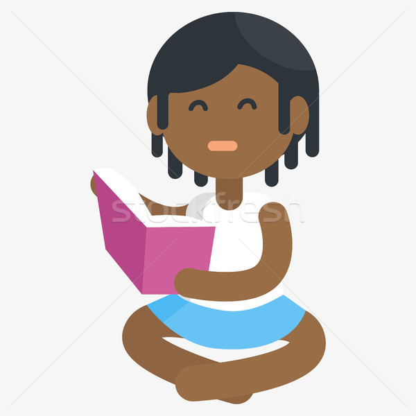 Unhappy African Girl Isolated Reading Book Stock photo © robuart