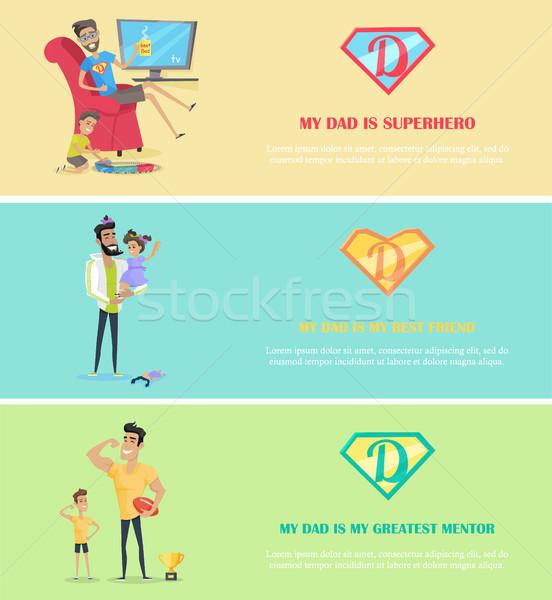 Apukék nap szalag szett szuper apa Stock fotó © robuart