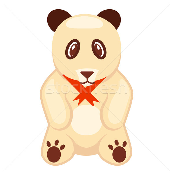 Soft Toy Panda Bear with Red Ribbon Illustration Stock photo © robuart