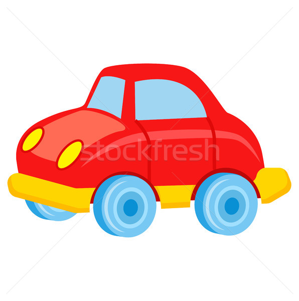 Red Toy Car with Blue Wheels Vector Illustration Stock photo © robuart