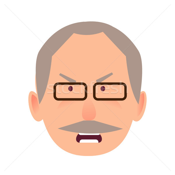 Irritated Facial Expression of Elderly Man Vector Stock photo © robuart