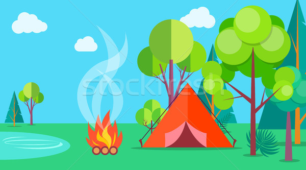 Camping Time in Summer Template Poster with Tent Stock photo © robuart