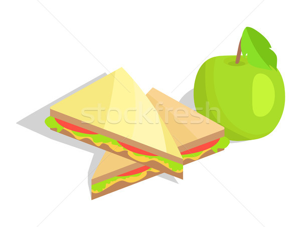 Triangular Sandwich with Lettuce and Green Apple Stock photo © robuart