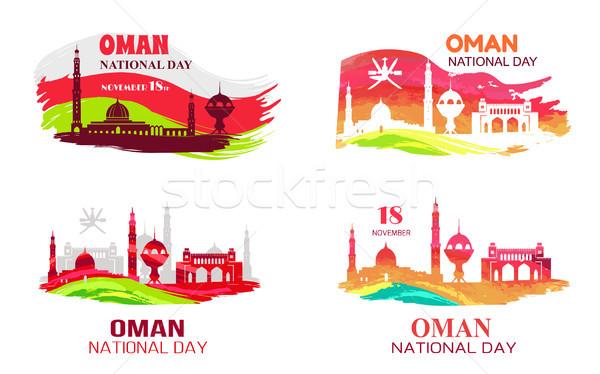 Omã dia 18 quadro bandeiras isolado Foto stock © robuart