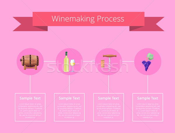 Winemaking Process Vector Illustration on Pink Stock photo © robuart