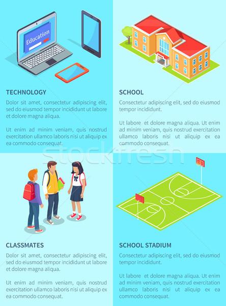 élèves ordinateurs école stade adolescent Photo stock © robuart