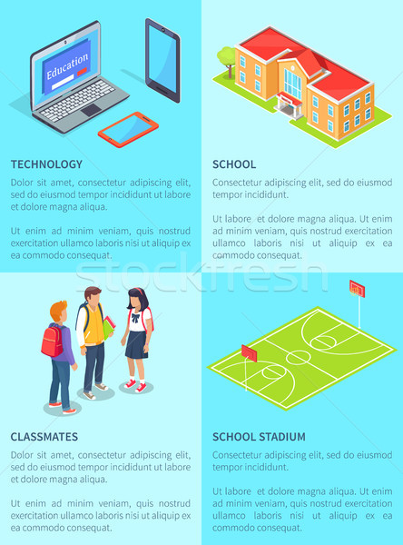Classmates Students, Computers, School and Stadium Stock photo © robuart