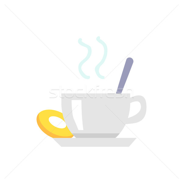 Stock photo: Cup of Tea or Coffee and Cookie on Plate Icon