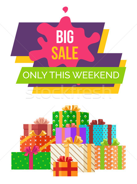 Big Sale This Weekend Sticker Vector Web Poster Stock photo © robuart