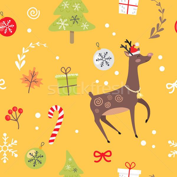северный олень Рождества конфеты декоративный красный Сток-фото © robuart
