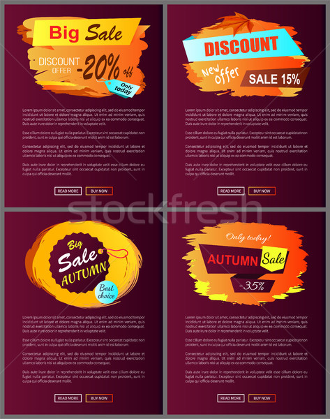 Stock photo: Big Autumn Sale New Offer Discounts Vector Posters