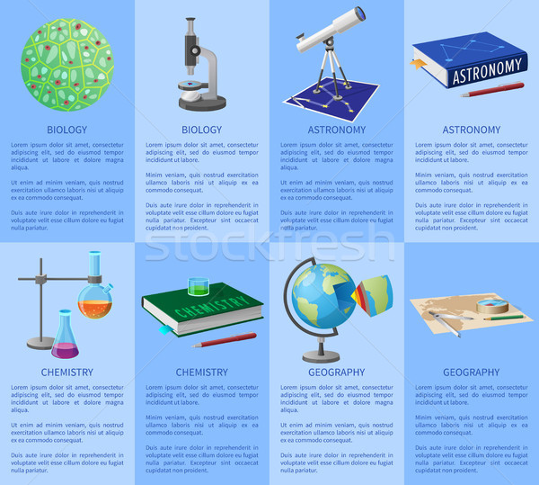 School Subjects Poster with Detailed Information Stock photo © robuart