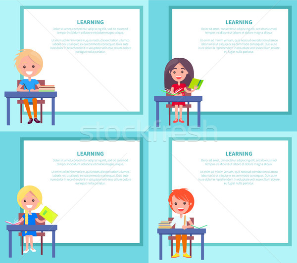 Learning Banners Set with Children Sitting at Desks Stock photo © robuart