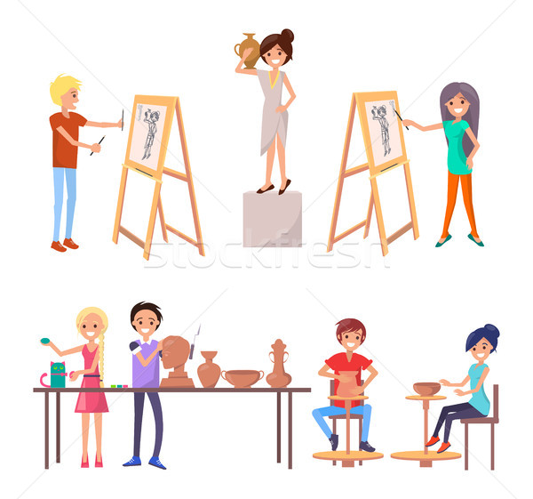 Happy Students Improving their Skills Illustration Stock photo © robuart
