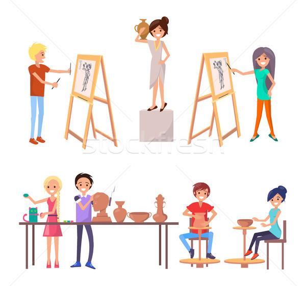 счастливым студентов навыки иллюстрация класс искусства Сток-фото © robuart