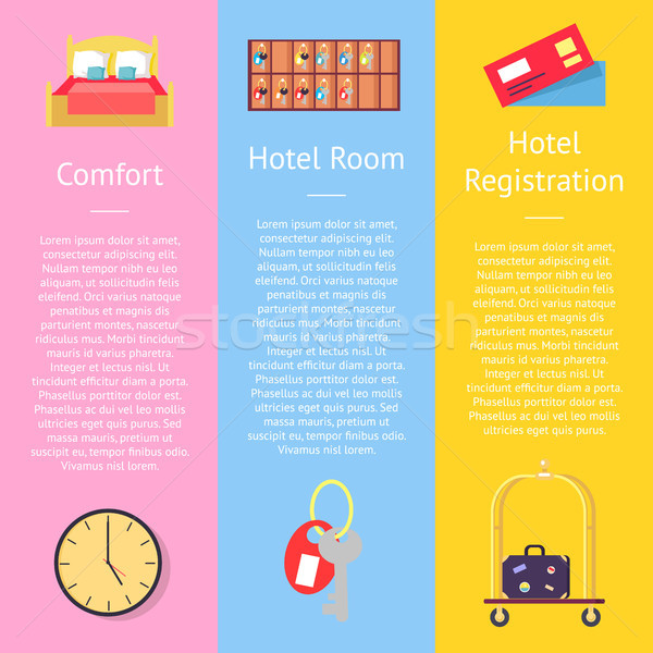 Comfort Hotel Registration Card Set of Posters Stock photo © robuart