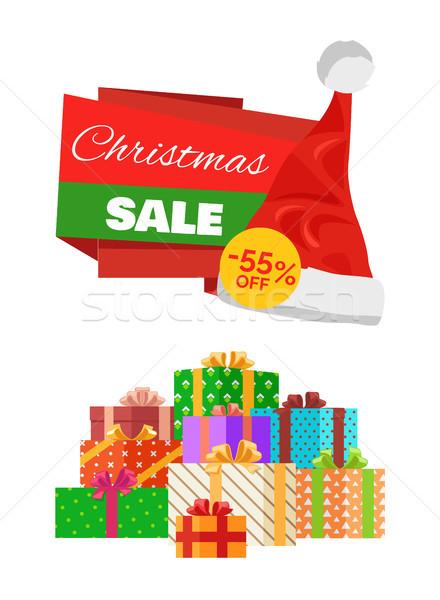 Рождества продажи рекламный наклейку Hat объявление Сток-фото © robuart