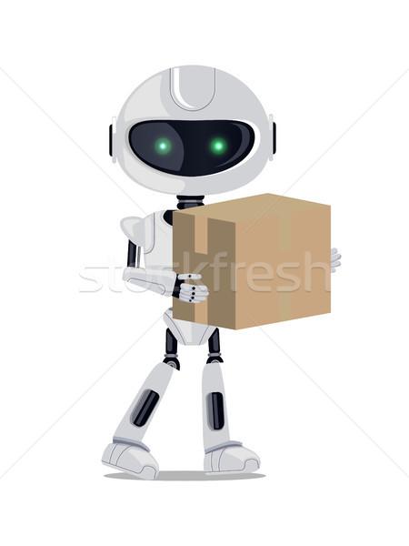 Robot ayakta cyborg yeşil gözleri Stok fotoğraf © robuart