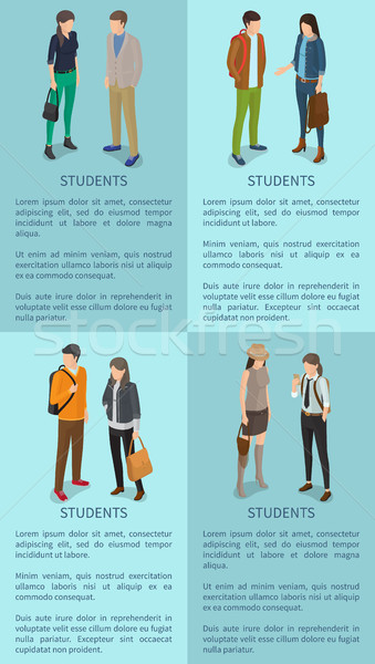 Students Set of Posters with Adult Men and Women Stock photo © robuart