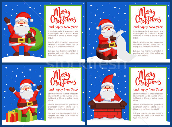 Merry Xmas and Happy New Year Postcard Santa Claus Stock photo © robuart
