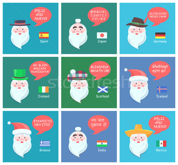 Foreign Santa Clauses Wish Happy New Year Posters Stock photo © robuart