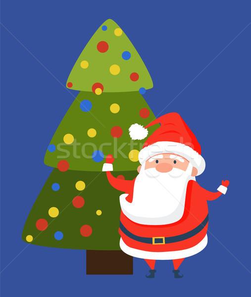 Boldog új évet képeslap aranyos mikulás vidám karácsony Stock fotó © robuart