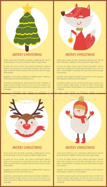 Neşeli Noel ayarlamak posterler ladin geyik Stok fotoğraf © robuart