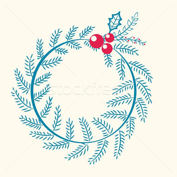 Christmas Pattern Wreath Berry Vector Illustration Stock photo © robuart