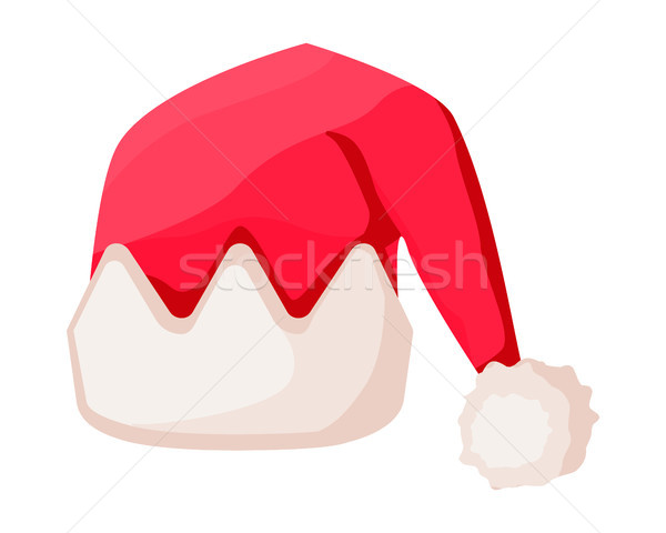 Santa Claus Hat with Trim in Crown Form Isolated Stock photo © robuart